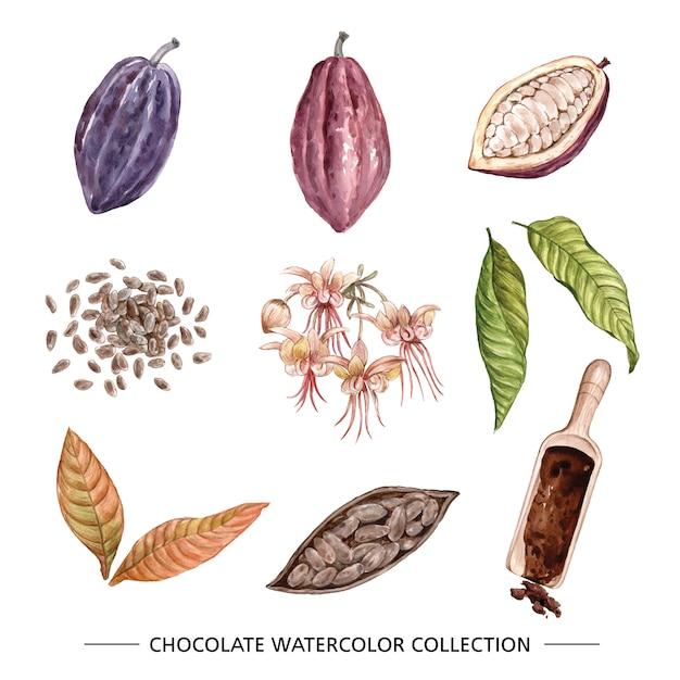 Schokoladenaquarellillustration auf weißem hintergrund für dekorativen gebrauch. Kostenlosen Vektoren