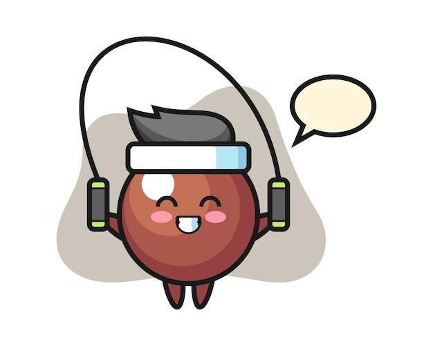 Schokoladenball-karikatur mit springseil Premium Vektoren