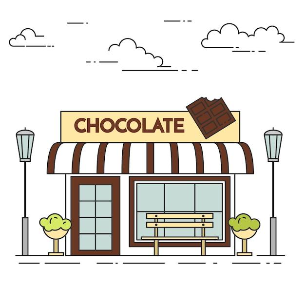 Schokoladencafé mit lampen, blumen und bank. vektor-illustration linie kunst. Premium Vektoren