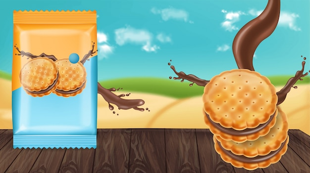 Schokoladencreme-plätzchen verspotten Premium Vektoren