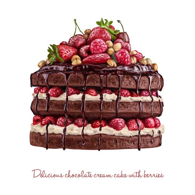 Schokoladencremekuchen mit beeren Premium Vektoren