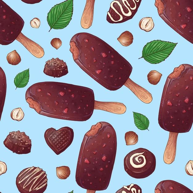 Schokoladeneis und süßigkeiten. Premium Vektoren