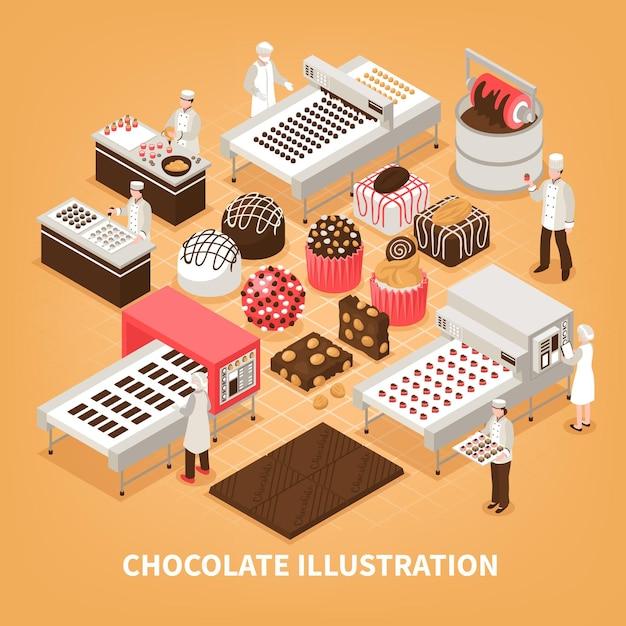 Schokoladenherstellung mit den leuten, die produktionsverfahren und satz handgemachte ed süße waren steuern Kostenlosen Vektoren