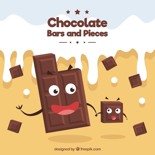 Schokoladenkarikaturen mit milch Kostenlosen Vektoren
