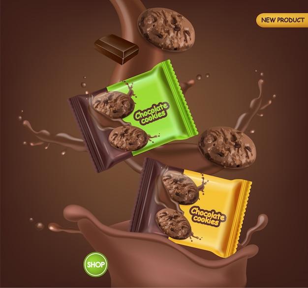 Schokoladenkekse realistisches modell. köstliche fallende dessertplätzchen mit schokoladenspritzer. detailliertes produktpaket 3d. etikettendesignplakate Kostenlosen Vektoren
