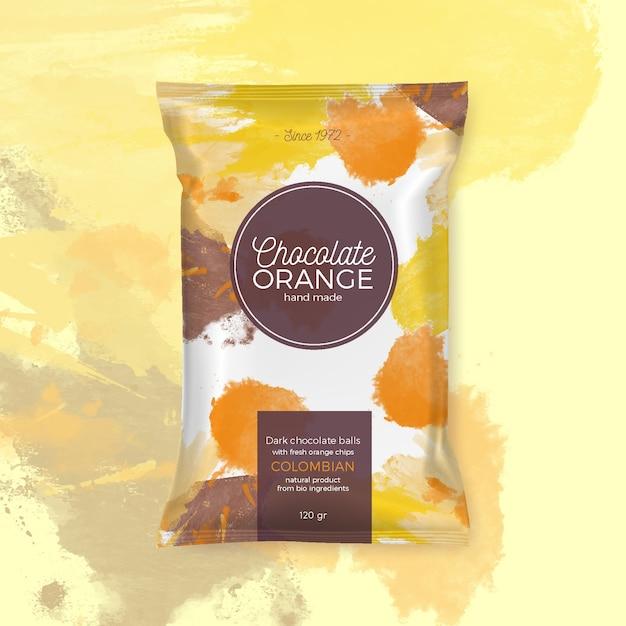 Schokoladenorange bunte verpackung Kostenlosen Vektoren