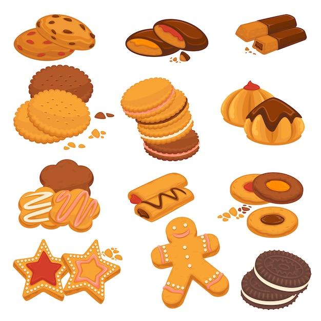 Schokoladenplätzchen und lebkuchenkekse Premium Vektoren