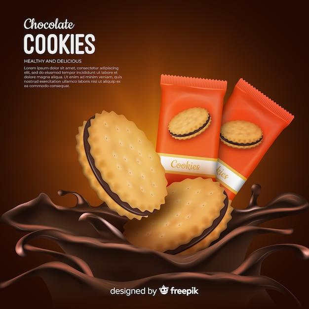 Schokoladenplätzchen-werbungshintergrund Kostenlosen Vektoren