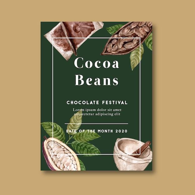 Schokoladenplakat mit bestandteilniederlassungskakao, aquarellillustration Kostenlosen Vektoren