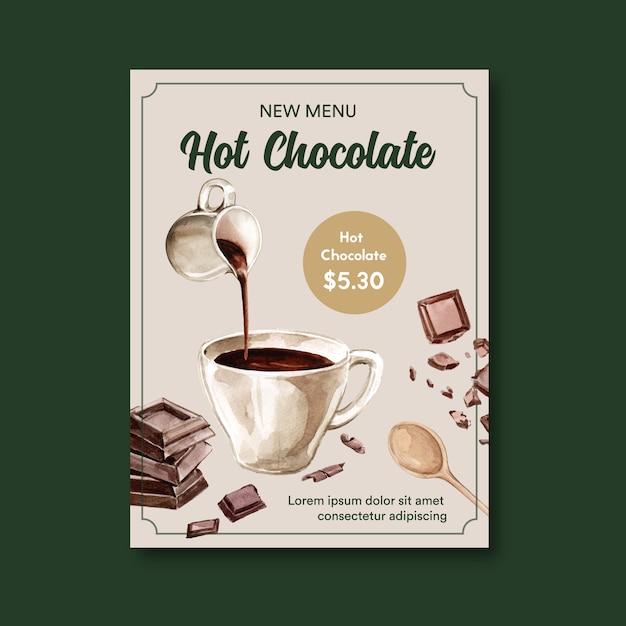 Schokoladenplakat mit heißem getränk der schokolade, aquarellillustration Kostenlosen Vektoren