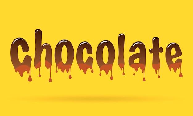 Schokoladentext auf gelbem hintergrund. Premium Vektoren