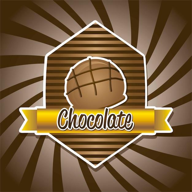 Schokoladentrüffel über brauner hintergrundvektorillustration Premium Vektoren