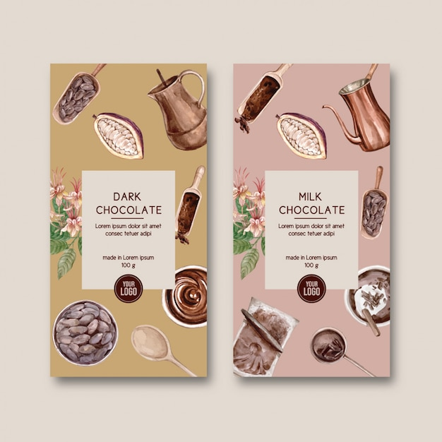 Schokoladenverpackung mit zutaten zweig kakao, aquarell Kostenlosen Vektoren