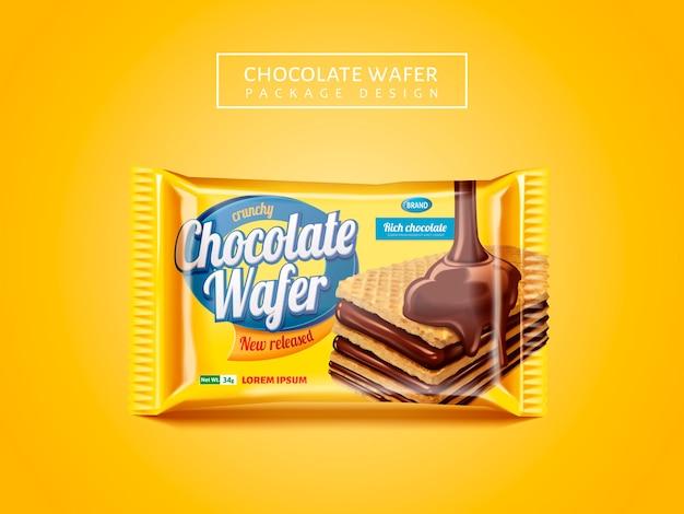 Schokoladenwaffelpaket, köstliches kekspaket lokalisiert auf gelbem hintergrund Premium Vektoren