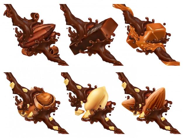 Schokoriegel, nüsse, karamell, kakaobohne in schokoladenspritzer Premium Vektoren
