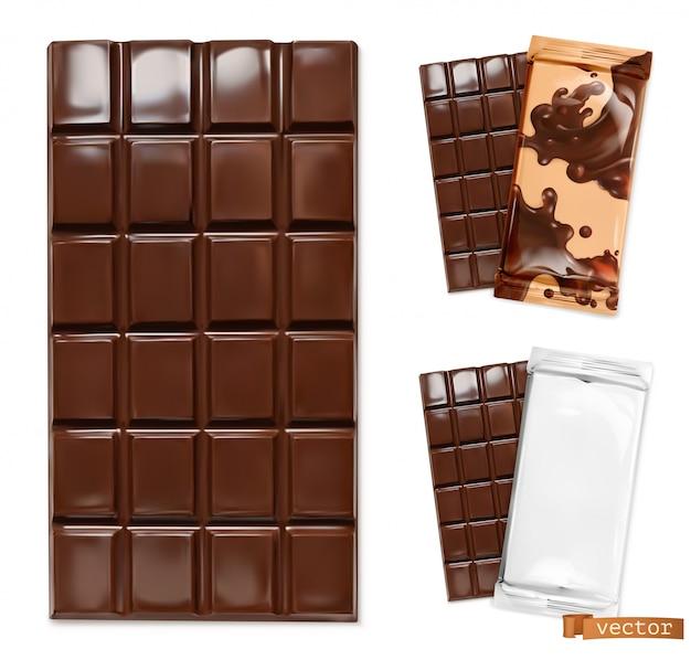 Schokoriegel- und schokoladenverpackungsillustration Premium Vektoren