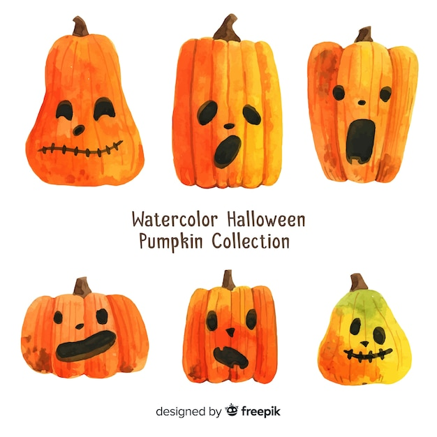 Schöne Aquarell Halloween Kürbis Kollektion | Download der ...