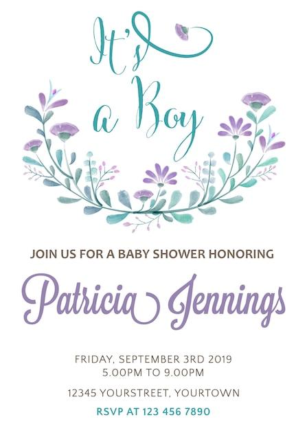 Schöne Baby-Dusche Karte Vorlage mit Aquarell Blumen   Download der ...