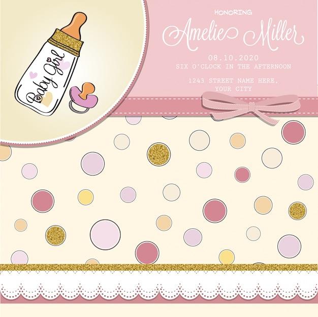 Schöne Baby-Dusche-Karte Vorlage mit golden glitzernden Details ...