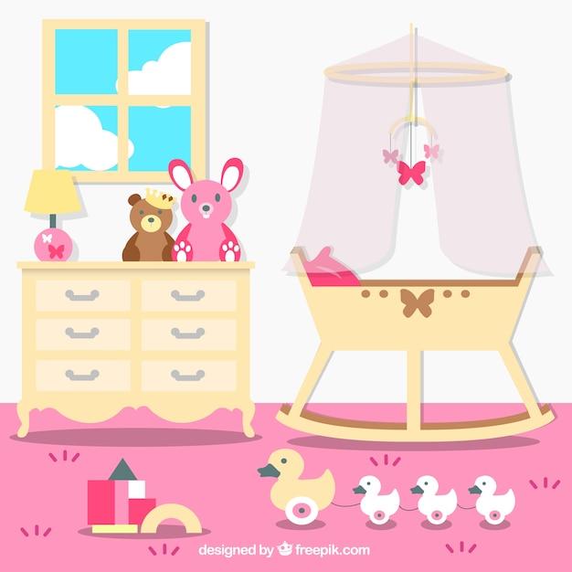 sch ne baby raum mit rosa wand download der kostenlosen vektor. Black Bedroom Furniture Sets. Home Design Ideas