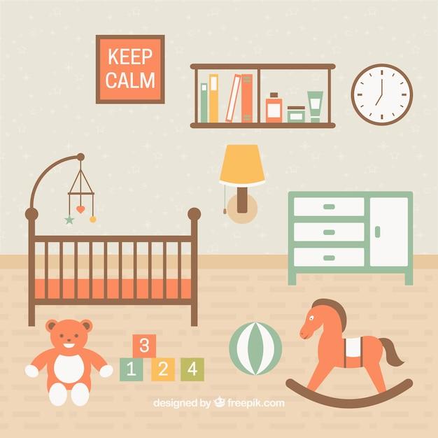 Schöne baby raum mit spielzeug auf dem boden download