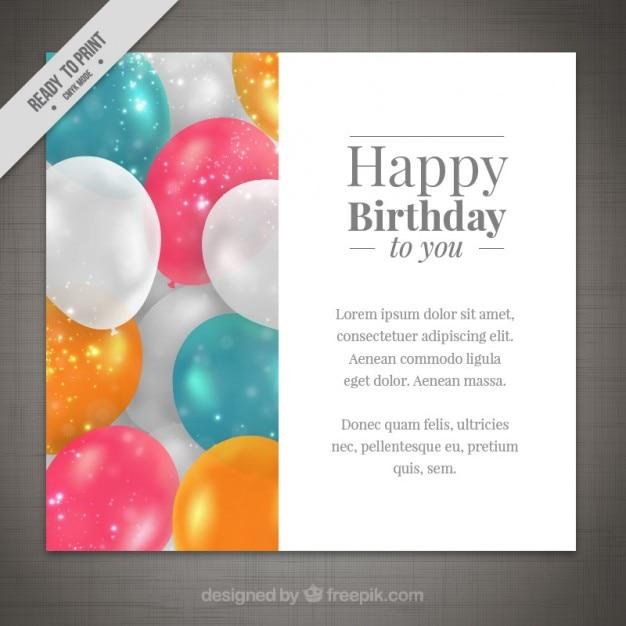 Schöne Ballons Geburtstagskarte | Download der kostenlosen Vektor