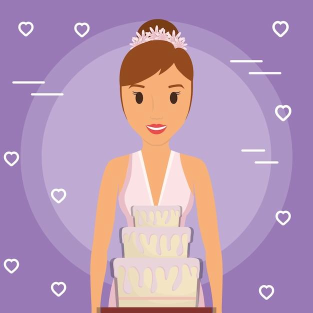 Schone Braut Mit Hochzeitstorte Cartoon Symbol Download Der