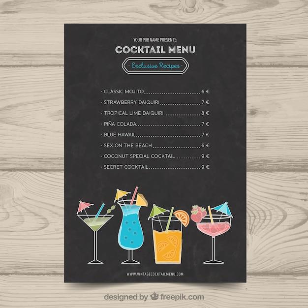Schöne Cocktailkarte Vorlage | Download der kostenlosen Vektor