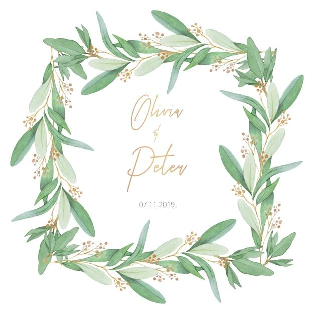 Schone Hochzeit Frame Mit Olivenblattern Download Der Kostenlosen