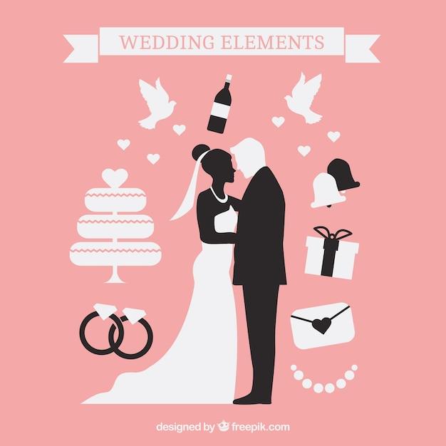 Schone Hochzeit Silhouetten Download Der Kostenlosen Vektor