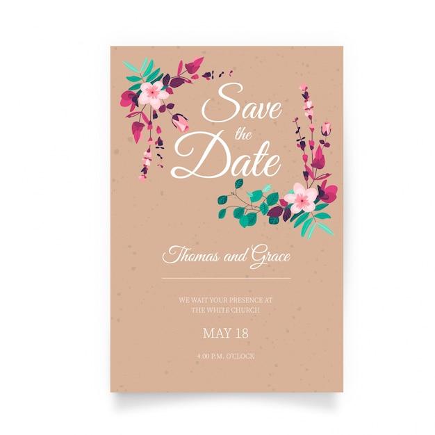 Schöne Hochzeitseinladung mit Hand gezeichneten Blumen