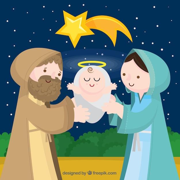 Schöne Jesus-Geburt Hintergrund Kostenlose Vektoren