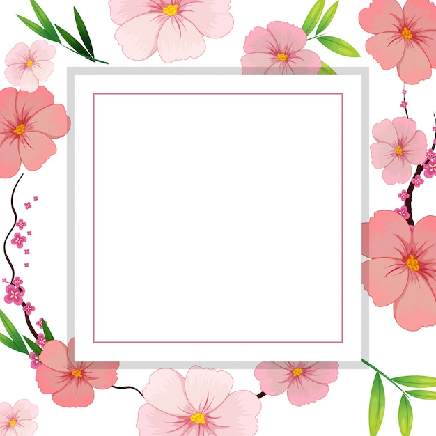 Schöne rosa Hibiskus-Blumen-Schablone | Download der Premium Vektor