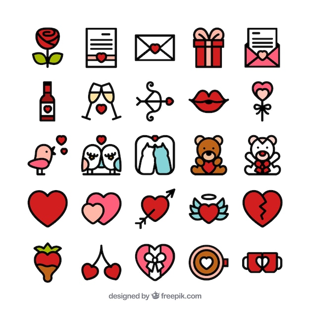 Schöne St. Valentinstag Symbole Kostenlose Vektoren