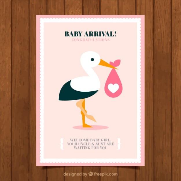 Schöne Storch Baby Dusche Karte Download Der Kostenlosen Vektor