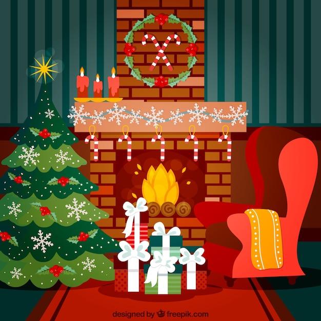 Schone Weihnachten Wohnzimmer Premium Vektoren