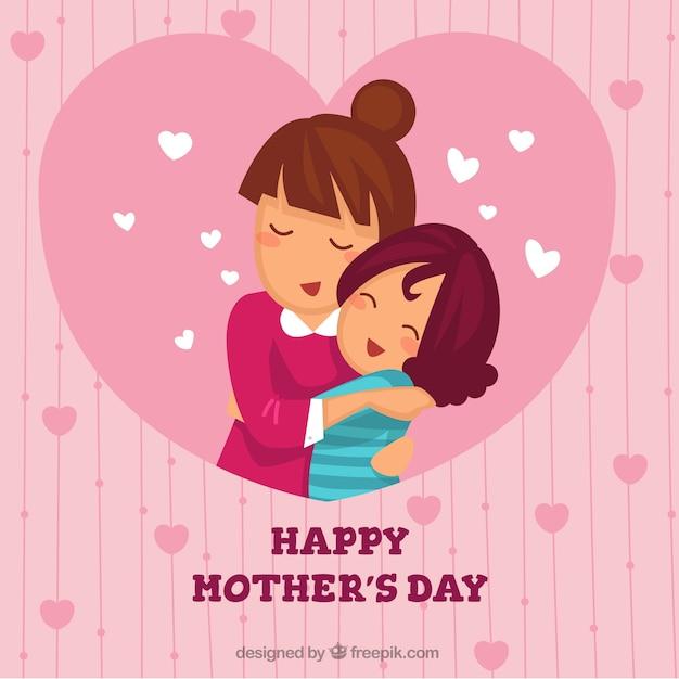 Schöner Hintergrund der Mutter umarmt ihre Tochter Kostenlose Vektoren