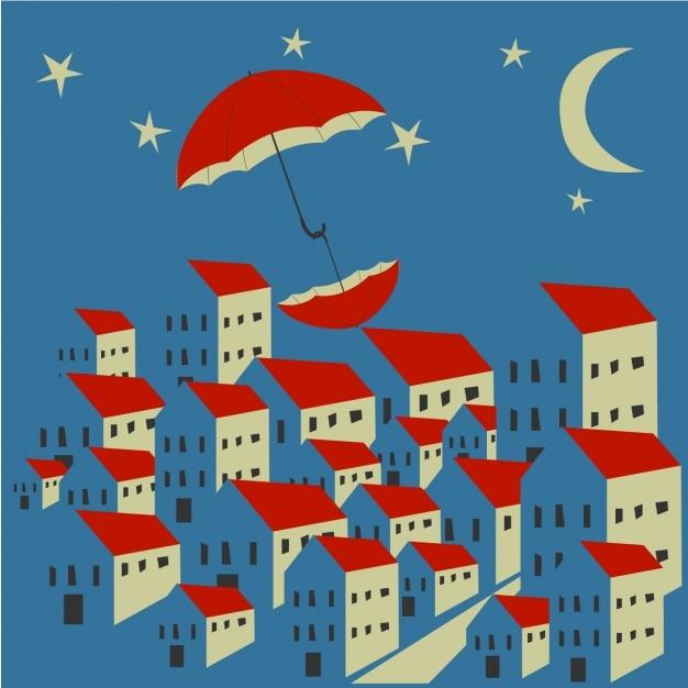 Sch ner hintergrund mit zwei roten regenschirmen und h user download der kostenlosen vektor - Mooie huis foto ...
