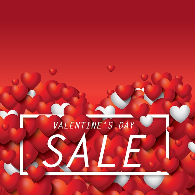 Schöner Roter Und Weißer Herz Valentinstag Verkauf Mit Text Premium Vektoren