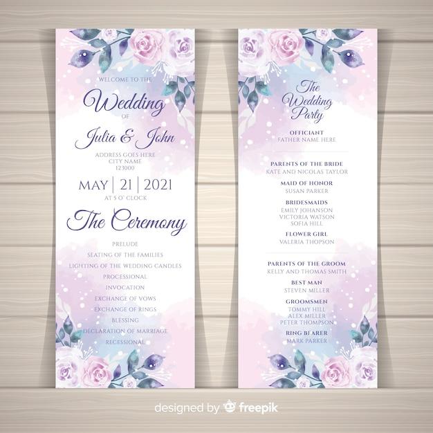 Schönes Hochzeitsprogramm mit Aquarellblumen Kostenlose Vektoren