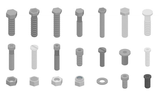 Schraubbolzenikonen eingestellt, isometrische art Premium Vektoren