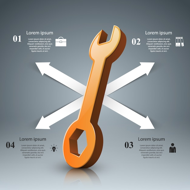 Schraubenschlüssel-infografik Premium Vektoren