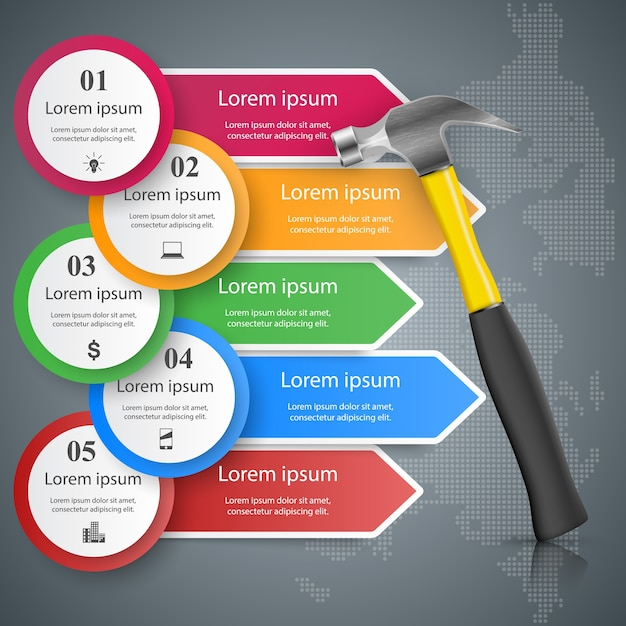Schraubenschlüssel, schraubendreher, reparatur symbol business infografik Premium Vektoren