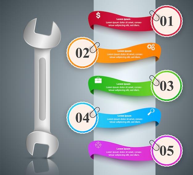 Schraubenschlüssel, schraubendreher, reparatursymbol geschäft infographik Premium Vektoren