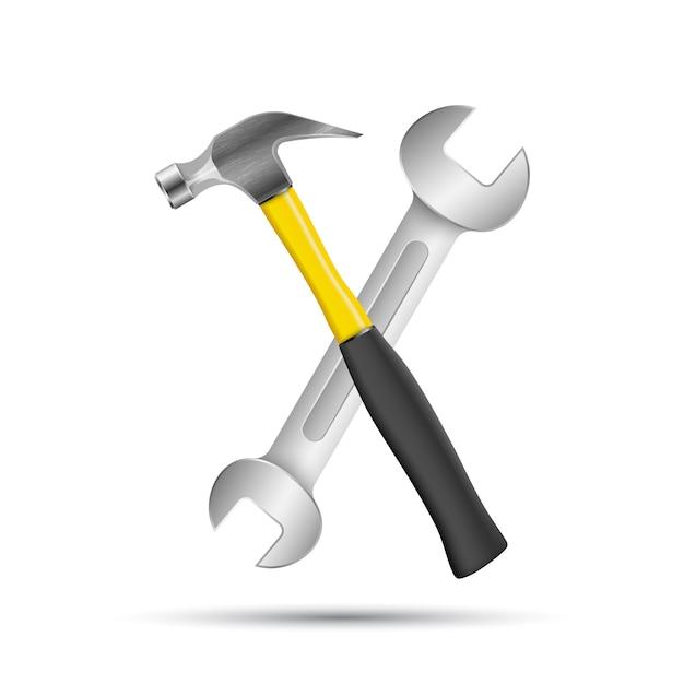 Schraubenschlüssel, schraubenzieher, hammerreparaturikone. geschäft infographic. Premium Vektoren