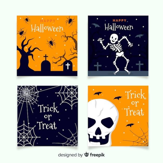 Schreckliche halloween-kartensammlung mit flachem design Kostenlosen Vektoren