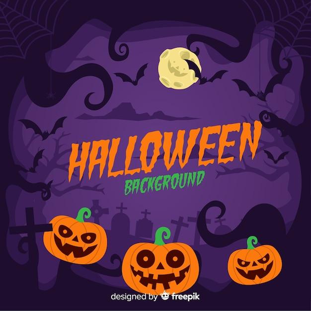 Schrecklicher halloween-hintergrund mit flachem design Kostenlosen Vektoren