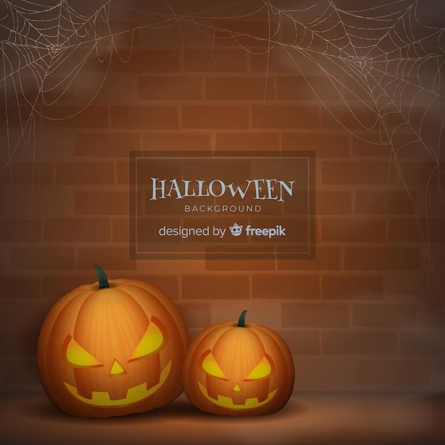 Schrecklicher halloween-hintergrund mit realistischem design Kostenlosen Vektoren