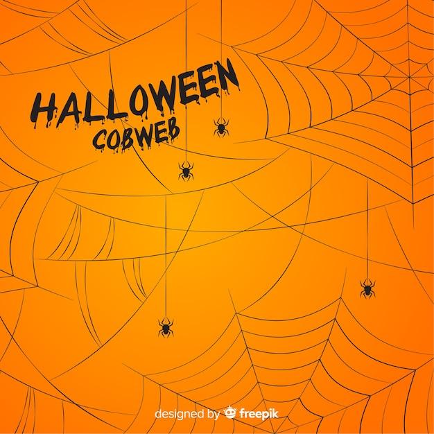 Schrecklicher halloween-hintergrund mit spinnennetz Kostenlosen Vektoren