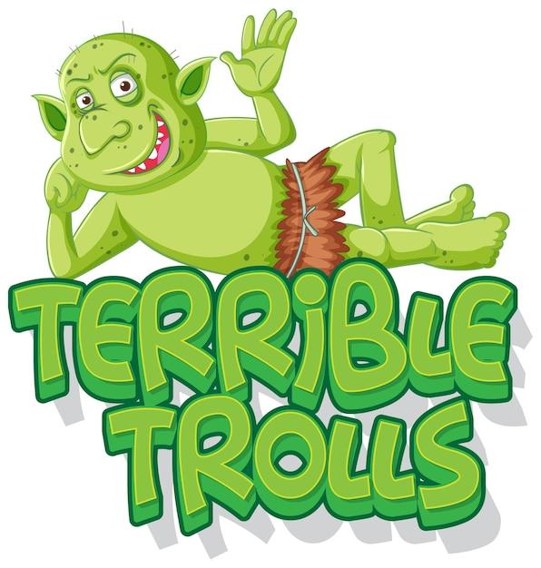 Schreckliches trolllogo auf weißem hintergrund Kostenlosen Vektoren